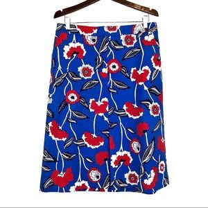 Boden | Floral Pencil Skirt Pockets Red White Blue